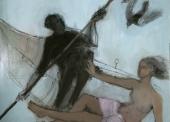 ECHAZARRETA Couple sur barque Huile sur toile 130x161.5