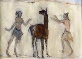 ECHAZARRETA-N°273-deux-jeunes-filles-et-lama-81x100