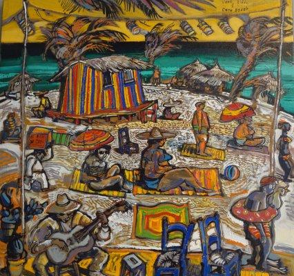 RONEL-N°450-Vent-tiède-à-Coco-Beach-60x60-