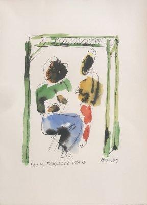 PASQUIER-N°503-Sous-la-tonnelle-verte-Aquarelle