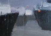 MARKANTONAKIS N°2 Scène portuaire grise TM 98x94