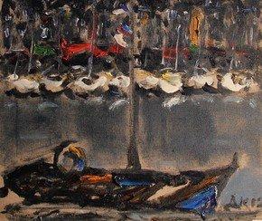voilliers dans le vieux bassin à Honfleur
