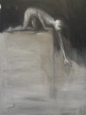 DEVOLDER-N°212-Lhomme-qui-grimpe-Dessin-marouflé-sur-toile-57x40