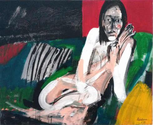 Labégorre Marie-Pierre au sofa vert, Serge Labégorre 2017 _ 81x100 cm 40F acrylique sur toile