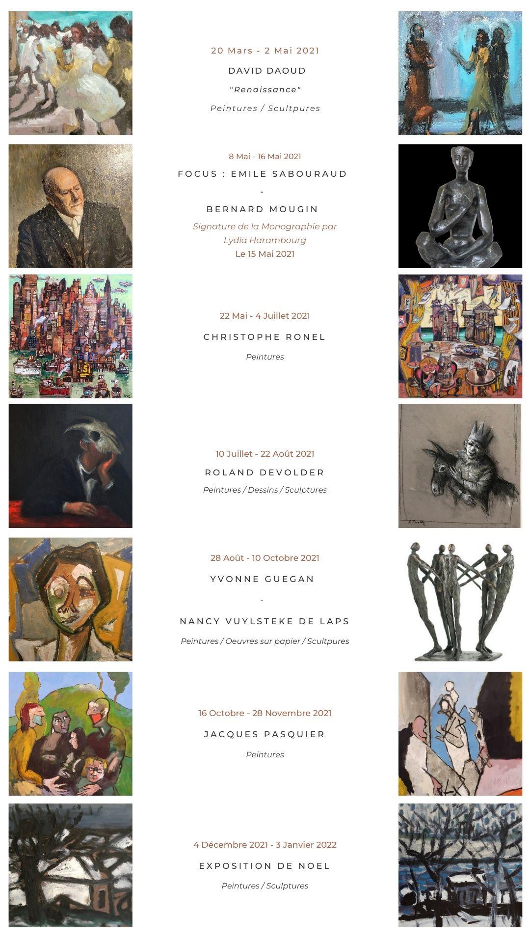 programmation de la galerie Danielle Bourdette gorzkowski pour l'année 2021